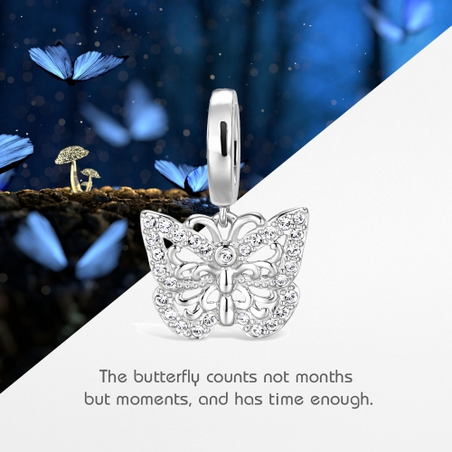Butterfly Charm Pendant Silver