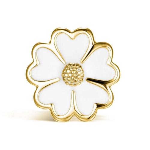 White Enamel Flower vergoldet