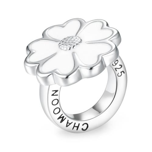 White Enamel Flower Silver