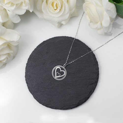 Heart Necklace Rotating Heart Silver