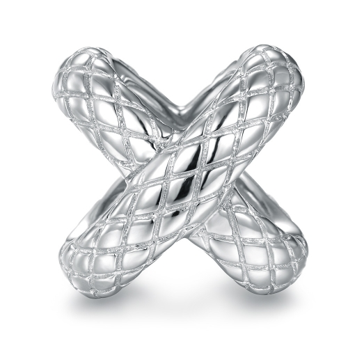 Snake Cross Charm Silber