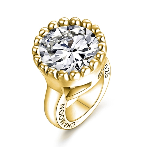 White Crystal Charm gold-plated