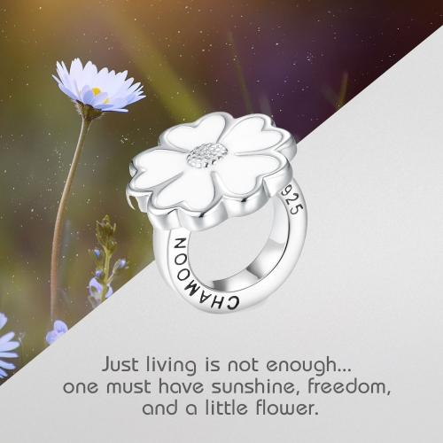 White Enamel Flower Silber