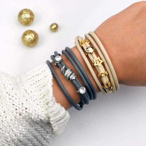 Armband Leder Damen Beige mit Charms