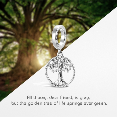 Tree of Life Charm Pendant Silver