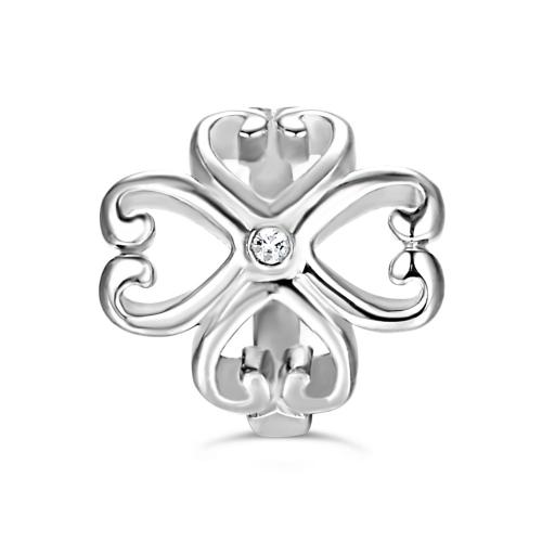 Cloverleaf Heart Charm Silver