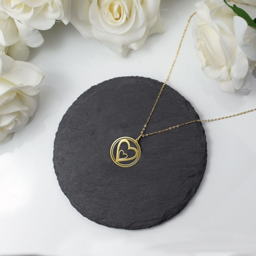 Heart Necklace Rotating Heart Gold