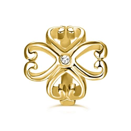 Cloverleaf Heart Charm gold-plated