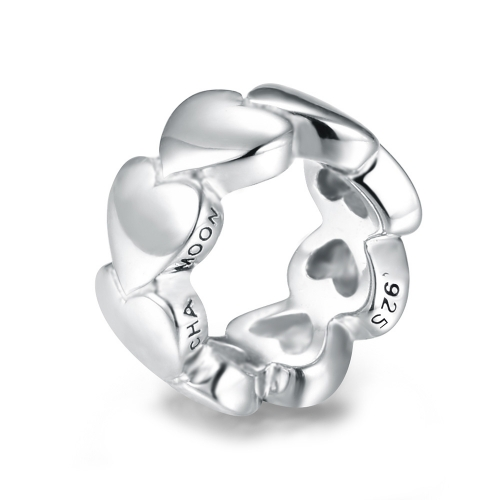 Awesome Hearts Charm Silver