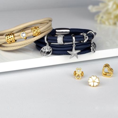 Lederarmband Blau Damen mit Silber Charms